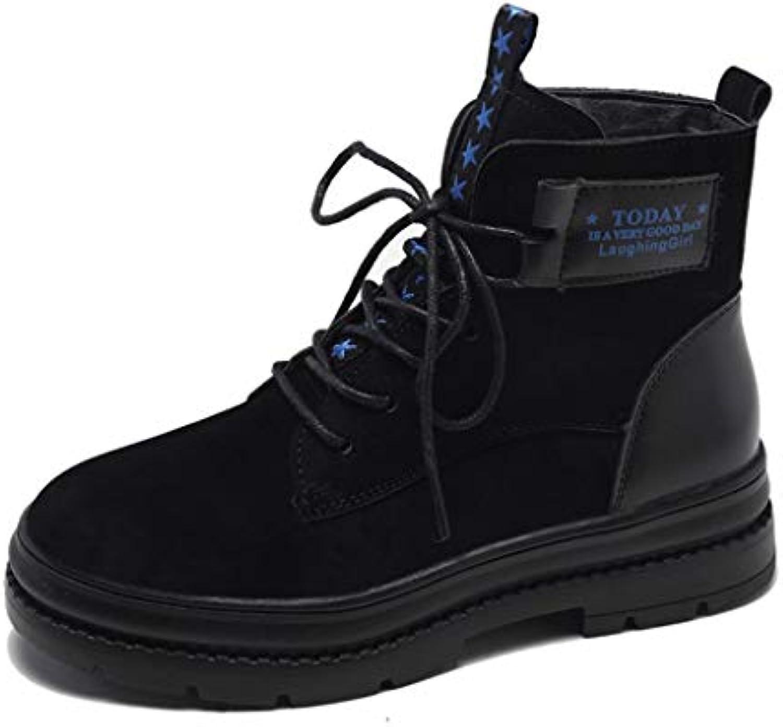 SHANGWU Ladies donna Ankle Ankle Ankle Winter Stivali Scarpe Autunno Autunno Inverno Plus Grip in Velluto Suola Lace Up Stivali... | Sulla Vendita  56ca95