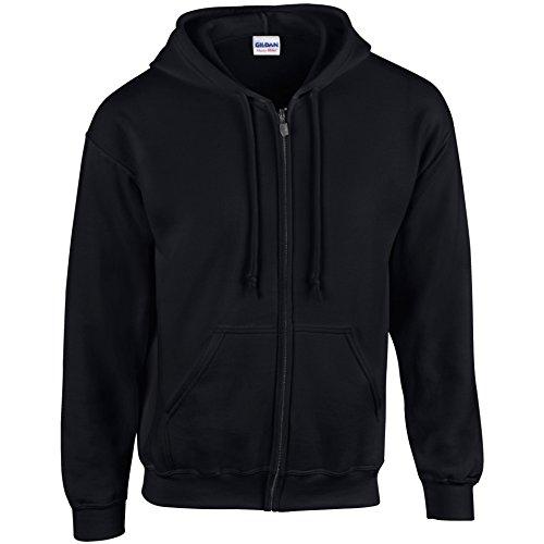 Gildan–Felpa pesante con cappuccio Black