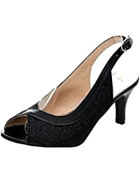 Nonbrand–Zapatos de fiesta brillantes, sandalias, con tacón bajo
