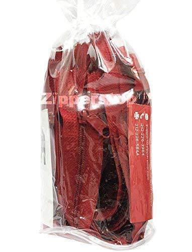zipperstop 15Stück 45,7cm YKK-Fashion Trend Farbe # 4,5lang Pull Handtasche Reißverschlüsse Made in USA in weiß Kordel W/Paspelierung Vinyl Zylinder Tasche (Hot Rot-519) - Rot Vinyl Zipper