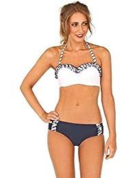108969a1c3 Ladies IZZY Push Up Halterneck   Ruffle Bandeau Bikini - Navy   White - Size  8