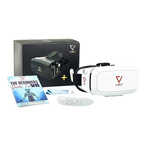 Ensemble casque VR + Commande à distance Bluetooth + Guide pour la réalité virtuelle – Le kit de réalité virtuelle en 3D pour profiter de jeux, d'applis et de films en VR sur votre mobile. Fonctionne avec Android, iPhone et tous les téléphones 4 à 6