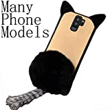 TAITOU Galaxy 2018 J2Pro/Grand Prime Pro Case, Soft Cat Ear Shaped Fluffy Plush Tail Villi Warm Hair Ball Clear Back Cover, Beautiful Cute Bumper Thin Slim Phone Case for Samsung Galaxy J2Core Black