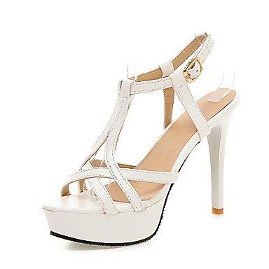 LittleDevil Damen-Sandalen-Hochzeit Büro Kleid-PU-Stöckelabsatz-Club-Schuhe-Weiß Schwarz Rosa Weiß