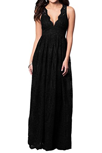 Prom Style Damen Sexy Spitze V-Aussschnitt Abendkleider Ballkleider Cocktailkleider A-Linie Lang Partykleider Tanzenkleider Schwarz