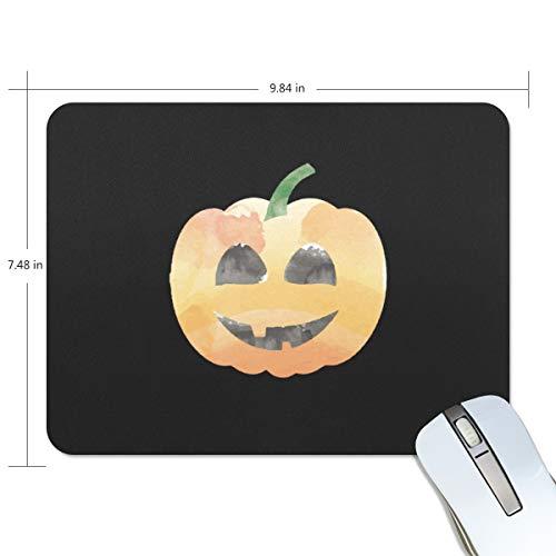 FAJRO Halloween-Mauspad mit Kürbis-Lächeln für den Schreibtisch, mit rutschfester Gummiunterseite und Jersey-Oberfläche für Büro, Zuhause