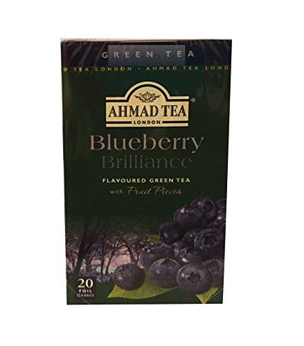 Ahmad Tea- Blueberry Brilliance aus Grüner Tee- Mischung mit Heidelbeeren Aroma mit 20 Tee- Beutel á 2 Gramm