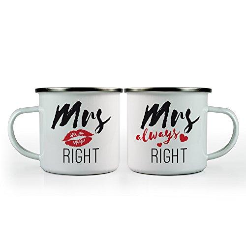 Tassenwerk 2er Set Weiße Emaille Becher mit Kussmund-Aufdruck – Mrs. Right – Standard – Retro – Outdoor-Becher für gleichgeschlechtliche Paare – Geschenkidee zur Hochzeit – Füllmenge: 300 ml