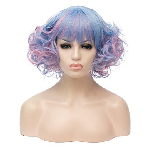 ATAYOU® Damen Kurze Synthetische Bob Perück für Cosplay und Karneval Kostüm (Gemischte Farbe - Eine Farbe Kostüm