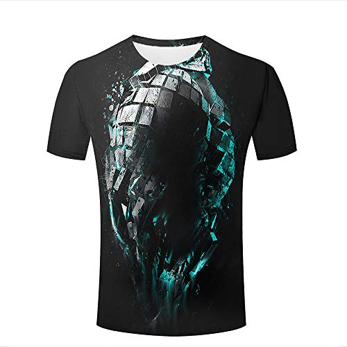 Men Women Casual Design 3D Printed Shiny Broken Black Ball Cool Short Sleeve T Shirts Tees S