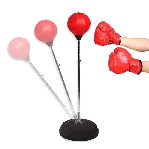 Cocoarm Verstellbare Punchingball Standboxsack Set für Kinder Jugend Erwachsene Speedball Boxtraining Standboxball mit Boxhandschuhen und Ständer Set, 120-150 cm, Rot