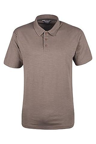 Mountain Warehouse Polo Homme T-Shirt Manches Courtes Décontracté Casual Heron Marron S