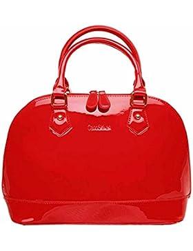 AiSi Damen Lack Leder Handtasche/ Damenhandtasche/ Schultertasche/ Henkeltasche mit Reißverschluss