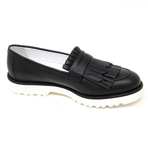 D0340 mocassino donna HOGAN H259 scarpa nero frangia loafer shoe woman Nero