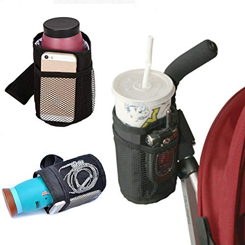Homieco Insulated Cup Holder Multifunktionaler Sportflaschenorganisator Trinkbecher mit Aufbewahrungstaschen für Kinderwagen, Rollstühle, Fahrrad, Autositze, Kindersitze