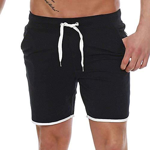 Yvelands Herren Sporthosen Shorts Bermudahosen Sportswear Sommerhosen Jogginghosen(Schwarz, XXXL)