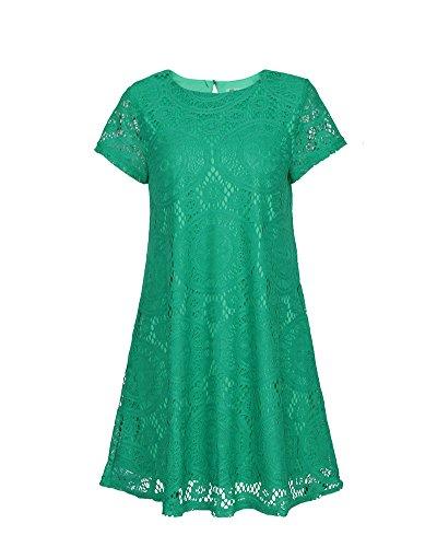 Donne Elegante Pizzo Breve Vestito Corto Girocollo Manica Corta Donna Verde
