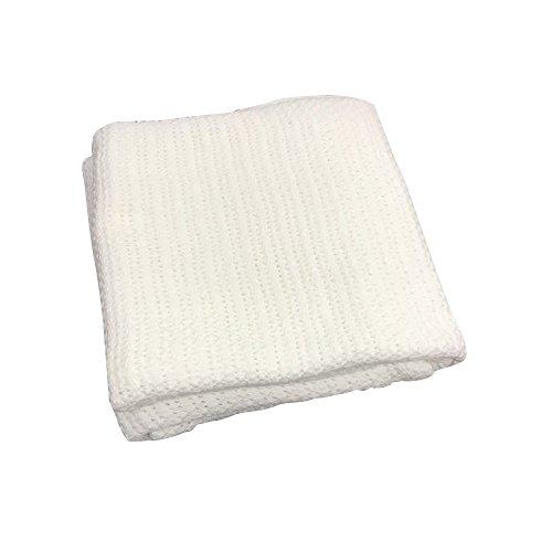 battilo 100% weiche Premium Baumwolle Thermo-Waffel Decke Couch Quilt–Perfekt für Schichtung jedes Bett, weiß, 90x120cm (Couch Quilt)