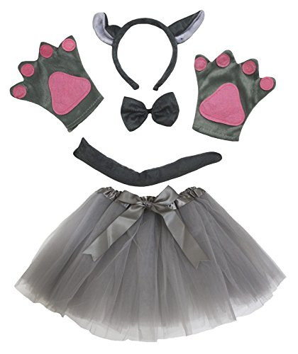 petitebelle Wolf Kostüm Stirnband Schleife Schwanz Handschuhe grau Tutu Set für Lady Gr. One size, grau (Wolf Lady Kostüm)