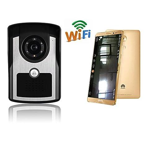 EXPOWER WiFi Video Türsprechanlage Türklingel Funk Gegensprechanlage System, Ring Alarm, App Fernsteuerung, Videoaufzeichnung und IR-Nachtsicht mit IOS / Android-System-Telefon Tablet PC Home