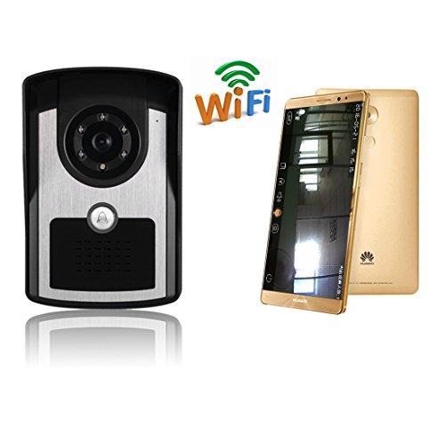 Expower WiFi Interphone Vidéo Visiophone Connecté Système de Sécurité CCTV Moniteur Enregistrement Vidéo Sonnette Alarme Portier Infrarouge Vision Nocturne pour Ios Android Smartphone Tablette
