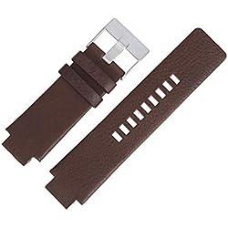 Diesel Bracelet de Montre Diesel DZ 1090, 18mm Cuir Marron, Messieurs de Accessoires Inclus–Bracelet de Rechange, Boucle Argent–25510