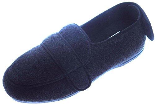 Microsuede Schuhe (Coolers , Herren Hausschuhe, Schwarz - Charcoal - Größe: 12 UK)