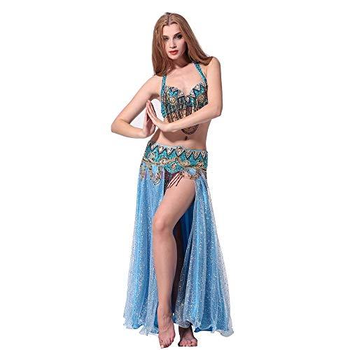Dance Belly Kostüm Crystal - Bauchtanz Kostüm Bauchtanz Set Performance Kostüm Set Stage Dress (BH/Taille/offener Rock) Sexy Tanzkleid-Outfit (Farbe : Blau, Größe : L)