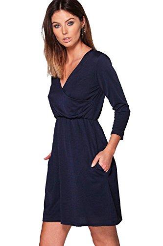 Marine Femmes Jasmine Robe Patineuse Cache-cœur Avec Poches Marine