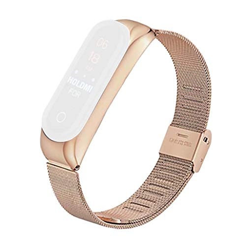 Saingace(TM) Sport Armband für Xiaomi Mi Band 4,Milanese Edelstahl Armband Ersatz Uhrenarmbänder Damen Herren Fitness Uhrenarmband Verstellbarer Wristband für Xiaomi Mi Band 4 (Rose Gold)