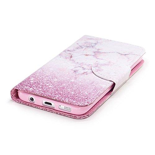 Schutzhülle für Galaxy S7,Galaxy S7 Leder Wallet Tasche Brieftasche Schutzhülle,Hpory Schön Kreative 3D Glänzend Glitzer Windspiele Blumen Muster Ledertasche Brieftasche Handyhülle PU Leder Flip Hülle Rosa Marmor