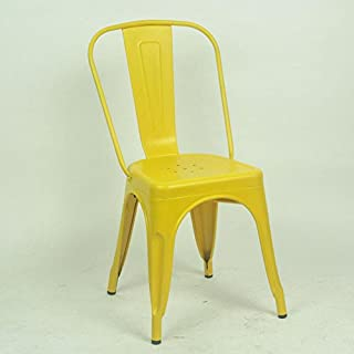 Esszimmerstühle Küchenstühle Stühle Stuhl Küchenstühlen Eisen Kunst Rückenlehne Kaffee Restaurant Vintage Industrial Wind Zeichnung (Einzelpreis, 4 Tingting (Farbe : A-Lemon Yellow)
