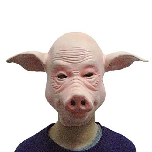 y Mask Neuheit Schwein Kopf Maske Headwear Perücke Kappe Vollmaske mit lockigen Haaren Halloween Kostüm Party Kostüm Cosplay Zubehör,Pig Head Mask-OneSize ()