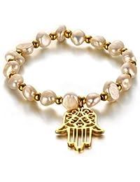 Vnox Cuentas de perlas de agua dulce de acero inoxidable de las mujeres mano de Fátima Hamsa encanto pulsera ajustable joyas de amistad de suerte