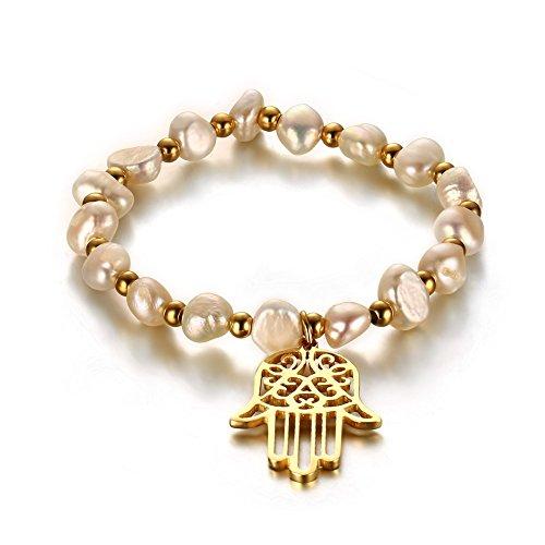 Vnox Perline a mano in acciaio inossidabile perla d'acqua dolce delle donne di Fatima Hamsa fascino braccialetto registrabile
