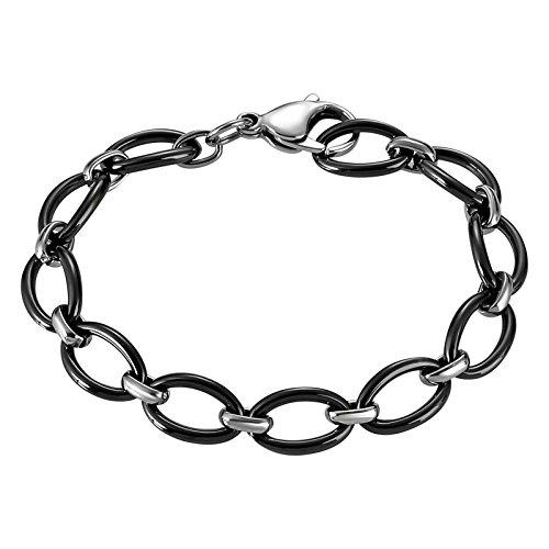 Aooaz Mode Schmuck Herren Edelstahl Armband Panzerkette Magnetarmband Buchstabe O Silber Schwarz Armband,Länge 20.5CM (Gothic Skull Armband Und Nägel)
