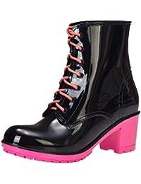 ZPEDY Stivali da Pioggia col Tacco Alto da Donna Eleganti Stivali da  Pioggia Martin Stivali da 5fb764d4c36