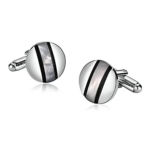 Aooaz Mens Stainless Steel Cufflinks Round Center Lines Opal Silver Cufflinks Classic With Gift Box