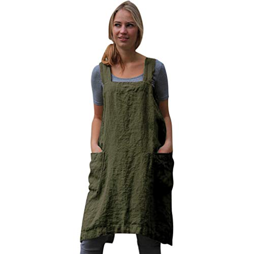 KPILP Frauen Plus Size Baumwolle Leinen Pinafore Square -