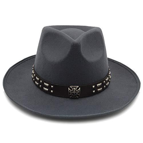 MTX-Sonnenhüte Hut, Fedora-Hut der neuen Art- und Weisewolle-Unisexfrauen mit breiter Krempe für Laday-Männer Woolen Panama-Kappe mit Legierungs-Gurt-Jazz-Kirchen-Hüten