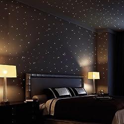 Cielo De Wandtattoo Loft 350 fluorescente Puntos luminosos y Estrellas autoadhesiva 150 brillante + 200 Puntos) Adhesivo pared con largo Luminosidad,perfecto para habitaciones infantiles dormitorios