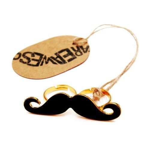 Schnurrbart Ring Mustache Doppelring Moustache Bart schwarz - -