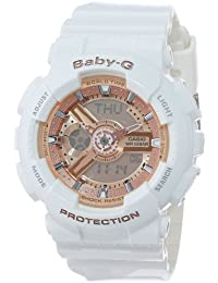 Reloj Mujer Casio Baby-G BA-110-7A1 Correa de resina blanca y esfera rosa oro