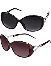elegante Combo of Black & Brown Oval Sunglasses for Women