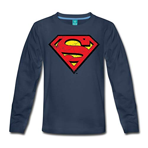 Spreadshirt DC Comics Superman Logo Used Look Kinder Premium Langarmshirt, 98/104 (2 Jahre), ()