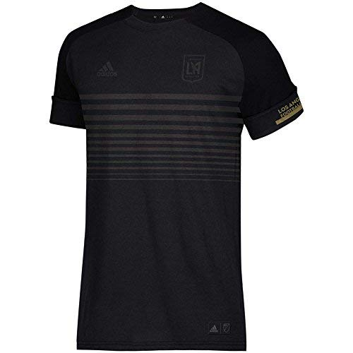 Gold Gestreiften Fußball-socken (adidas Los Angeles FC Youth Tonal Schwarz gestreift Brust T-Shirt, Jungen, schwarz, Youth Medium 10/12)