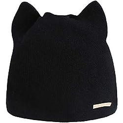 Dosige Sombrero de Invierno Orejas de Gato Gorras de Punto Color sólido Simple Orejeras Sombrero para Las Mujeres Size 20x20cm (Negro)