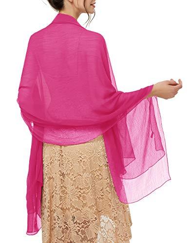 bridesmay Damen Strand Scarves Sonnenschutz Schal Sommer Tuch Stola für Kleider in 29 Farben Fuchsia -