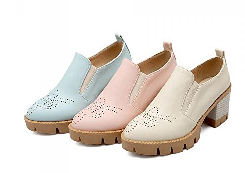 OL Loafers PU Slip-on Hollow Schuhe Runde-toe Low Heel Frauen Casual Party Büros Elegante Schuhe Europa Größe Customized Biger Größe 31-43 Blue