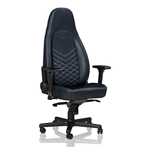 noblechairs ICON Sedia da gaming - Sedia da ufficio - Sedia da scrivania - Pelle vera - Ergonomico - Imbottitura schiuma fredda - 150 kg - Sedile da corsa Design - Blu / Grafite